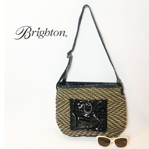 BRIGHTON Leather Straw Patent Woven Shoulder Bag